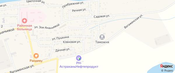 Березовая улица на карте села Красного Яра Астраханской области с номерами домов
