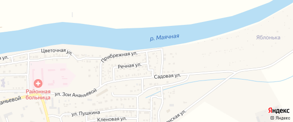 Садовый переулок на карте села Красного Яра Астраханской области с номерами домов