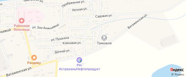 Виноградная улица на карте села Красного Яра Астраханской области с номерами домов