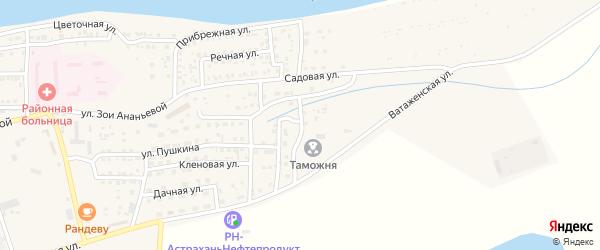 Ватаженский переулок на карте села Красного Яра Астраханской области с номерами домов