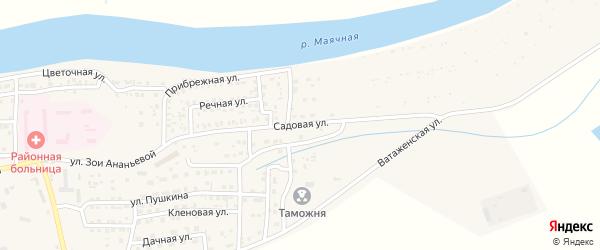 Садовая улица на карте села Красного Яра Астраханской области с номерами домов