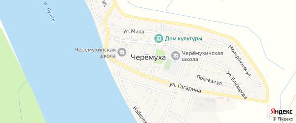 Спортивная 1-я улица на карте села Черемухи Астраханской области с номерами домов