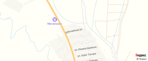 Юбилейная улица на карте села Гапцаха Дагестана с номерами домов