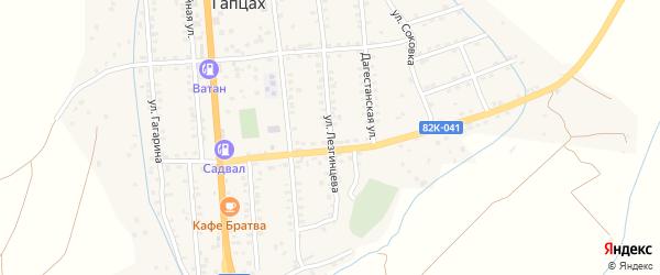 Улица Лезгинцева на карте села Гапцаха Дагестана с номерами домов