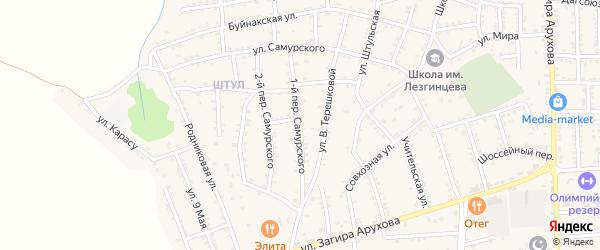 Самурского 2-й переулок на карте поселка Белиджи с номерами домов