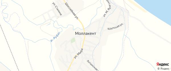 Карта села Маллакента в Дагестане с улицами и номерами домов