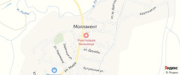 Дербентская улица на карте села Маллакента Дагестана с номерами домов
