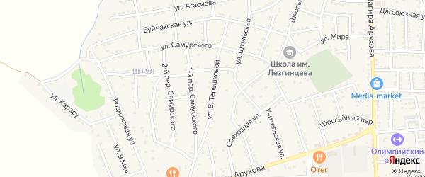 Улица В.Терешковой на карте поселка Белиджи с номерами домов