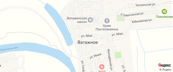 Абая улица на карте Ватажного села Астраханской области с номерами домов