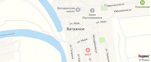 Юбилейная улица на карте Ватажного села Астраханской области с номерами домов