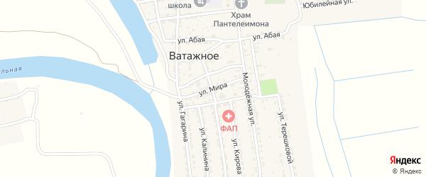 Улица Мира на карте Ватажного села Астраханской области с номерами домов