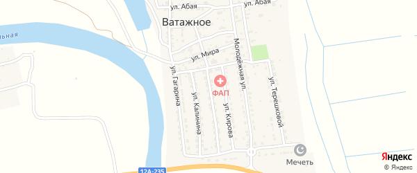 Улица М.Горького на карте Ватажного села Астраханской области с номерами домов