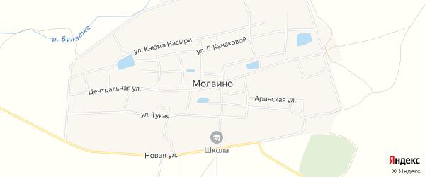 Карта села Молвино в Татарстане с улицами и номерами домов