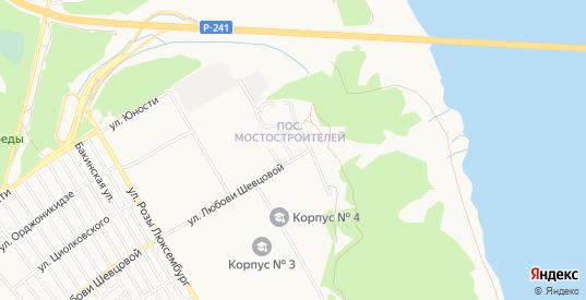 Карта поселка Мостостроителей в Ульяновске с улицами, домами и почтовыми отделениями со спутника онлайн