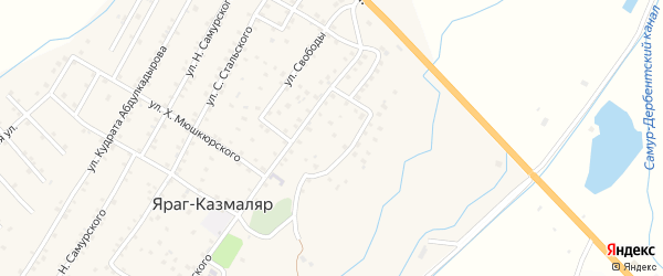 Улица Абаса Исрафилова на карте села Ярага-Казмаляра Дагестана с номерами домов