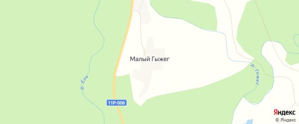 Карта деревни Малого Гыжега в Архангельской области с улицами и номерами домов