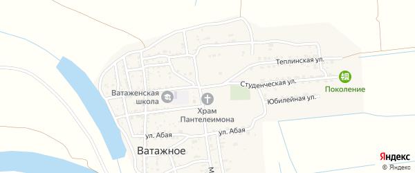 Студенческая улица на карте Ватажного села Астраханской области с номерами домов