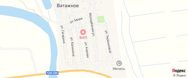 Молодежная улица на карте Ватажного села Астраханской области с номерами домов