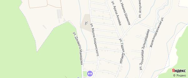 Улица Малла Кюринского на карте села Кумук Дагестана с номерами домов