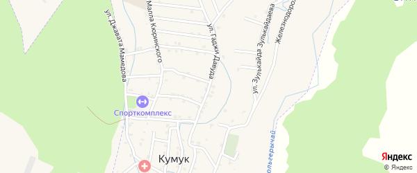 Улица Нажмудина Улубекова на карте села Кумук Дагестана с номерами домов