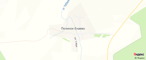 Карта села Починок-Енаево в Татарстане с улицами и номерами домов