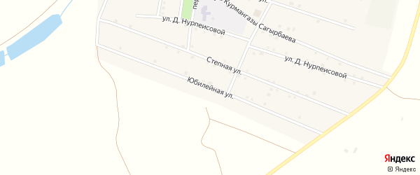 Юбилейная улица на карте села Байбека Астраханской области с номерами домов