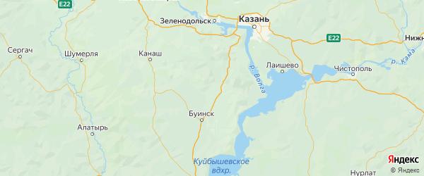 Карта Апастовского района Республики Татарстана с городами и населенными пунктами