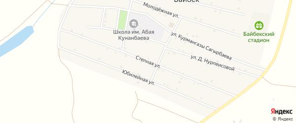 Степная улица на карте села Байбека Астраханской области с номерами домов