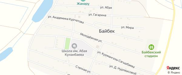 Молодежная улица на карте села Байбека Астраханской области с номерами домов