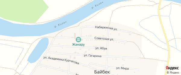 Советская улица на карте села Байбека Астраханской области с номерами домов