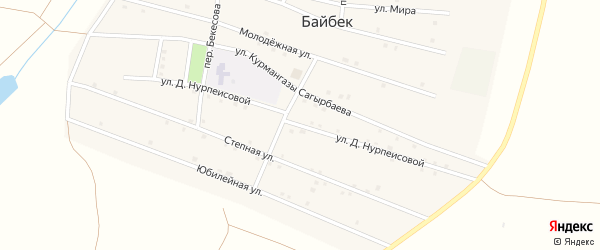 Улица Д.Нурпеисовой на карте села Байбека Астраханской области с номерами домов