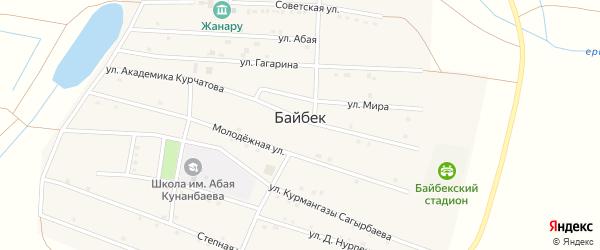 Улица Победы на карте села Байбека Астраханской области с номерами домов