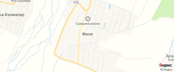 Карта села Фили в Дагестане с улицами и номерами домов