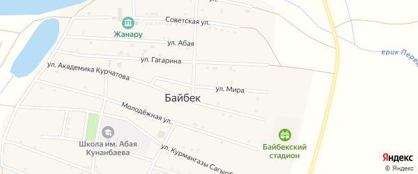 Улица Мира на карте села Байбека Астраханской области с номерами домов