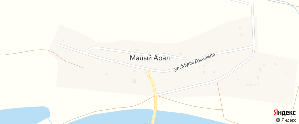 Набережная улица на карте села Малого Арал Астраханской области с номерами домов
