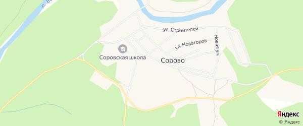 Карта деревни Сорово в Архангельской области с улицами и номерами домов