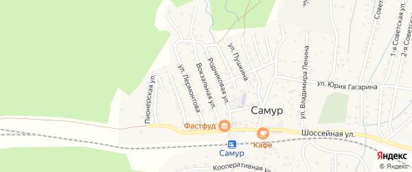 Вокзальная улица на карте села Самура Дагестана с номерами домов