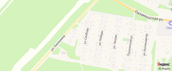 Улица Свободы на карте поселка Урдома Архангельской области с номерами домов