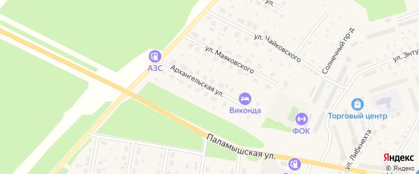 Архангельская улица на карте поселка Урдома с номерами домов