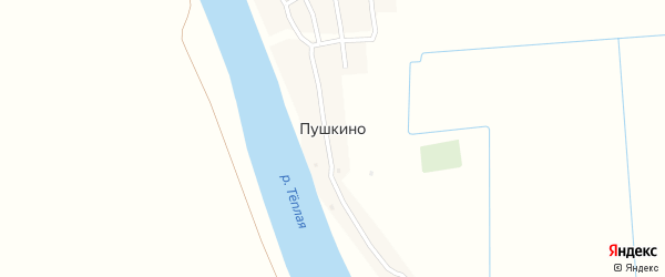 Заречная улица на карте поселка Пушкино Астраханской области с номерами домов