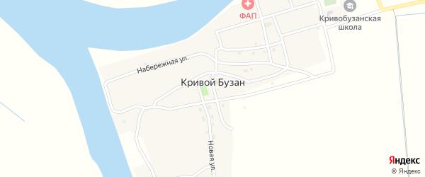 Советская улица на карте села Кривой Бузана Астраханской области с номерами домов