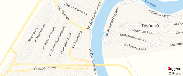 Улица Дзержинского на карте Володарского поселка с номерами домов