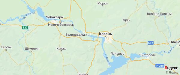 Карта Зеленодольского района Республики Татарстана с городами и населенными пунктами
