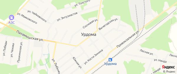 ГСК N6 на карте поселка Урдома Архангельской области с номерами домов
