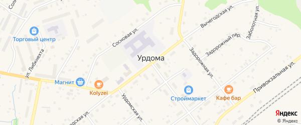 ГСК 7 на карте поселка Урдома Архангельской области с номерами домов