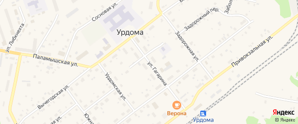 Улица Гагарина на карте поселка Урдома Архангельской области с номерами домов