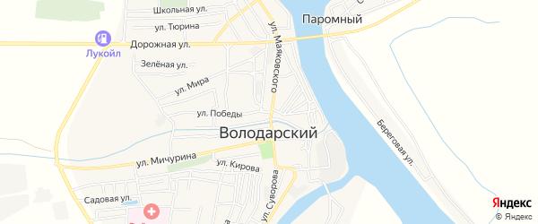 Карта Володарского поселка в Астраханской области с улицами и номерами домов