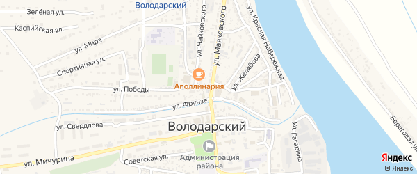 Улица Циолковского на карте Володарского поселка с номерами домов