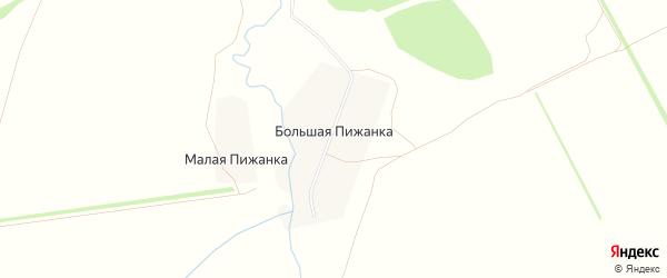 Карта деревни Большей Пижанки в Кировской области с улицами и номерами домов