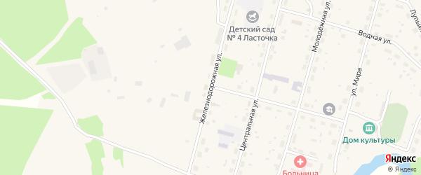 Железнодорожная улица на карте поселка Урдома Архангельской области с номерами домов